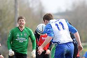 Paul Madden Kiltullagh Pioneers scores Kiltullagh against Kinvara FC. Photo:Andrew Downes