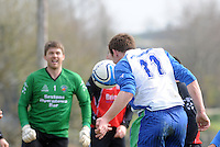 Paul Madden Kiltullagh Pioneers scores Kiltullagh against Kinvara FC. Photo:Andrew Downes