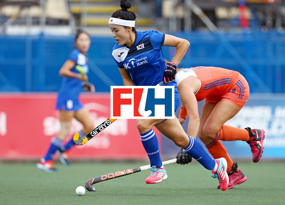 New Zealand, Auckland - 20/11/17  <br /> Sentinel Homes Women&rsquo;s Hockey World League Final<br /> Harbour Hockey Stadium<br /> Copyrigth: Worldsportpics, Rodrigo Jaramillo<br /> Match ID: 10299 - NED vs KOR<br /> Photo: (23) LEE Yuri against (15) MATLA Frederique