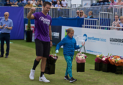 LIVERPOOL, ENGLAND - Sunday, June 23, 2019: Runner-up Robert Kendrick (USA) and his daughter Mackenzie after the Men's Final on Day Four of the Liverpool International Tennis Tournament 2019 at the Liverpool Cricket Club. <br /> Lorenzi won 7-6 (3), 6-2. (Pic by David Rawcliffe/Propaganda)