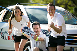 No repro Fee: Model Alison Canavan, with 2FM DJ's Paddy McKenna and Mark McCabe, are encouraging last minute runners to join them in the Wings For Life World Run this Sunday, May 4th in Killarney, in aid of spinal cord research. You can still sign up by phone on 01-6436406 or at the registration area on Saturday and Sunday. Details on www.wingsforlifeworldrun.com Credit: Andres Poveda