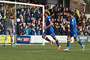 AFC Wimbledon striker Lyle Taylor (33) celebrating after scoring penalty to make it during the EFL Sky Bet League 1 match between AFC Wimbledon and Oxford United at the Cherry Red Records Stadium, Kingston, England on 10 March 2018. Picture by Matthew Redman.