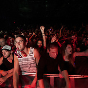 March 28, 2012 - New York, NY : Fans gyrate on the dance floor as British dubstep music producers (DJ's) Skream & Benga perform at the Best Buy Theater in Manhattan on Wednesday evening. CREDIT: Karsten Moran for The New York Times