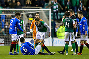 Vykintas Slivka (#8) of Hibernian reacts angrily towards Connor Goldson (#6) of Rangers following an incident that saw Connor Goldson (#6) of Rangers fall to the floor holding his face during the Ladbrokes Scottish Premiership match between Hibernian and Rangers at Easter Road, Edinburgh, Scotland on 19 December 2018.