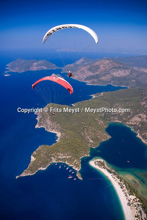 Olu Deniz, Fethiye, Mugla, Turkey, July 2008. Tandem paragliding off the Babadag mountain over the Blue Lagoon of Oludeniz. Photo by Frits Meyst/Adventure4ever.com
