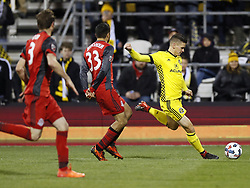 November 21, 2017 - Columbus, OH, USA - Columbus Crew defender Jukka Raitala (2) crosses the ball against Toronto FC defender Steven Beitashour (33) in the second half of the first leg of the MLS Eastern Conference finals at MAPFRE Stadium in Columbus, Ohio, on Tuesday, Nov. 21, 2017. After a scoreless draw, the teams move to Toronto for the final leg on November 29. (Credit Image: © Kyle Robertson/TNS via ZUMA Wire)