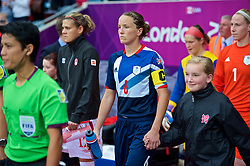 COVENTRY, ENGLAND - Friday, August 3, 2012: Great Britain's captain Casey Stoney during the Women's Football Quarter-Final match between Great Britain and Canada, on Day 7 of the London 2012 Olympic Games at the Rioch Arena. Canada won 2-0. (Photo by David Rawcliffe/Propaganda)