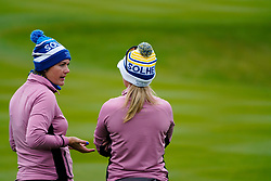 Auchterarder, Scotland, UK. 14 September 2019. Saturday afternoon Fourballs matches  at 2019 Solheim Cup on Centenary Course at Gleneagles. Pictured; Caroline Masson (l) and Jodi Ewart Shadoff of Team Europe have a conversation. Iain Masterton/Alamy Live News