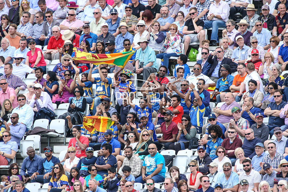Sri Lankan supporters in the Trent Bridge crowd during the Royal London ODI match between England and Sri Lanka at Trent Bridge, West Bridgford, United Kingdon on 21 June 2016. Photo by Shane Healey.