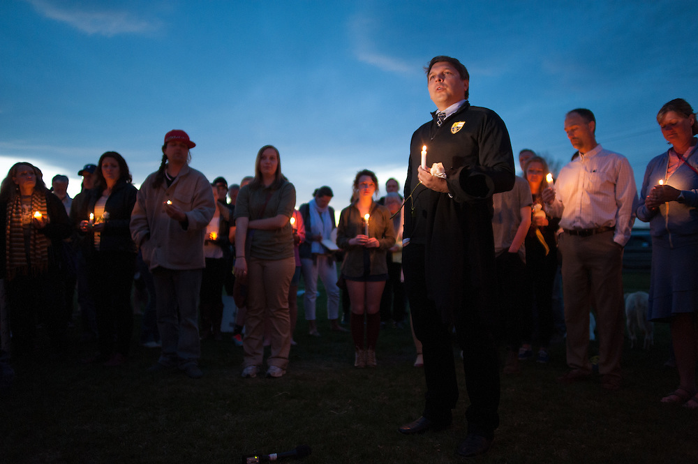 Jay Bostrom speaking at the vigil for slain German exchange student, Diren Dede, on May 2, 2014, at the Fort Missoula soccer field where Dede had played. Jay Bostrom was soccer coach and Spanish teacher to Diren Dede.