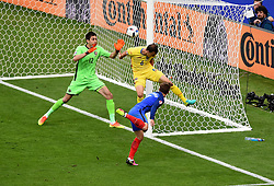 Antoine Griezmann of France sees his effort cleared off the line by Vlad Chiriches of Romania  - Mandatory by-line: Joe Meredith/JMP - 10/06/2016 - FOOTBALL - Stade de France - Paris, France - France v Romania - UEFA European Championship Group A
