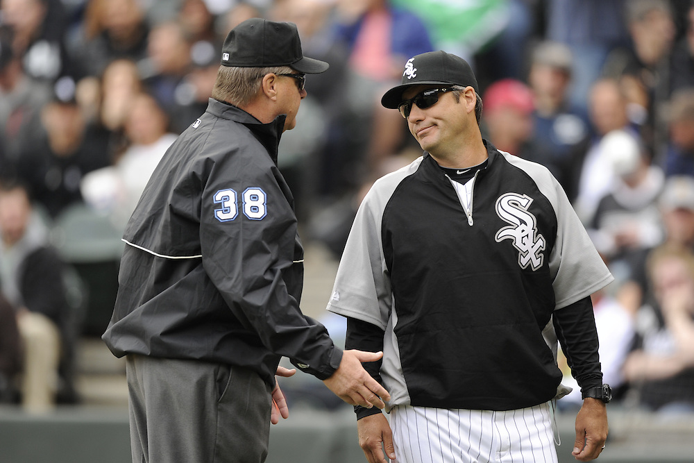 CHICAGO - APRIL 13:  Manager Robin Ventura #23 of the Chicago White Sox argues a call with first base umpire Gary Cederstrom during the game against the Detroit Tigers on April 13, 2011 at U.S. Cellular Field in Chicago, Illinois.  The White Sox defeated the Tigers 5-2.  (Photo by Ron Vesely)   Subject:  Robin Ventura; Gary Cederstrom