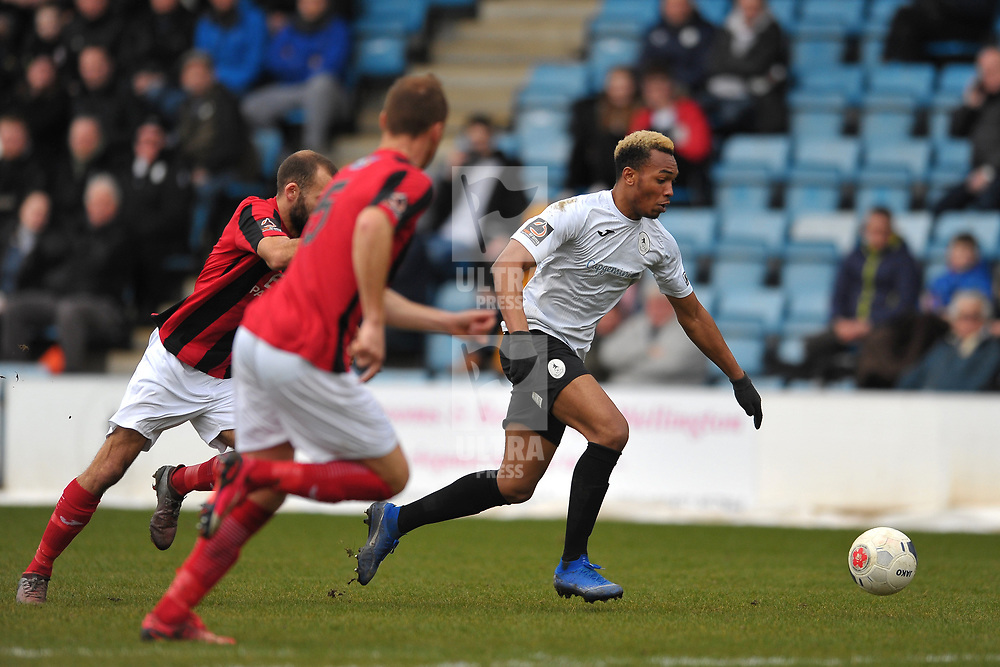 TELFORD COPYRIGHT MIKE SHERIDAN Marcus Dinanga of Telford  during the Vanarama Conference North fixture between AFC Telford United and Kettering at The New Bucks Head on Saturday, March 14, 2020.<br /> <br /> Picture credit: Mike Sheridan/Ultrapress<br /> <br /> MS201920-050