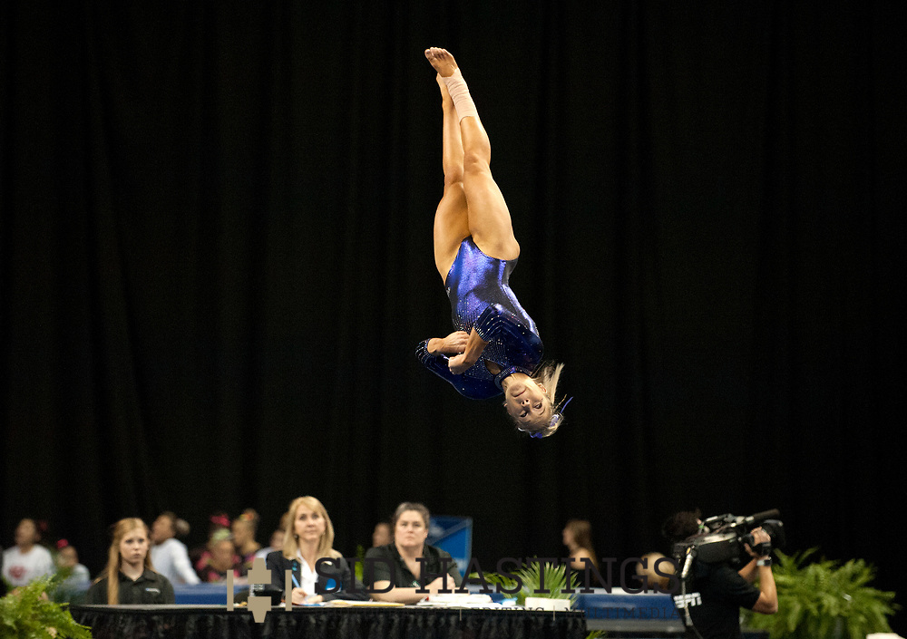 21 APRIL 2018 -- ST. LOUIS -- LSU gymnast Ashlyn Kirby competes in the Floor Exercise during the 2018 NCAA Women's Gymnastics Championship Super Six at Chaifetz Arena in St. Louis Saturday, April 21, 2018. The Tigers finished fourth in the nation during the meet.<br /> Photo &copy; copyright 2018 Sid Hastings.