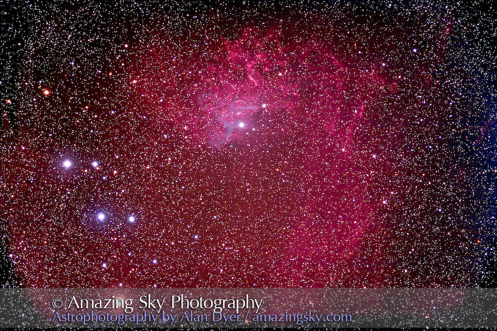 IC 405 nebula in Auriga taken with 5-inch f/6 apo refractor with field flattener, with Hutech-modified Canon 5D camera at ISO400, for stack of 5 x 14 minute exposures. Taken from home on December 17, 2006.