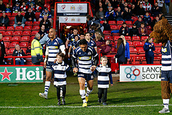 Bristol Rugby captain David Lemi with the mascots - Mandatory byline: Rogan Thomson/JMP - 06/03/2016 - RUGBY UNION - Ashton Gate Stadium - Bristol, England - Bristol Rugby v Moseley - Greene King IPA Championship.