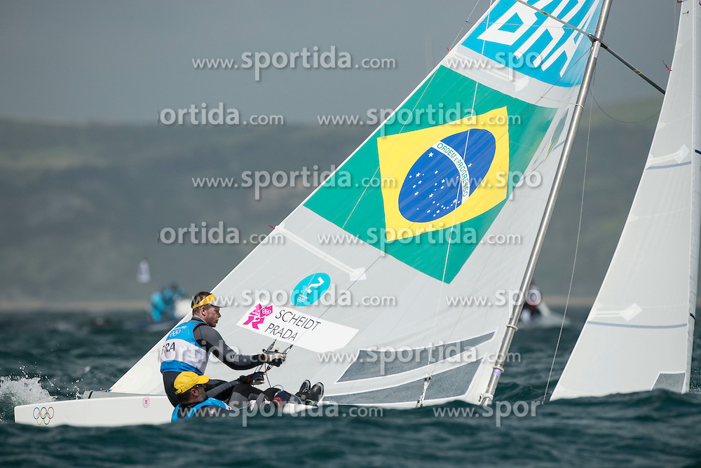 02.08.2012, Bucht von Weymouth, GBR, Olympia 2012, Segeln, im Bild .Scheidt Robert, Prada Bruno, (BRA, Star) // during Sailing, at the 2012 Summer Olympics at Bay of Weymouth, United Kingdom on 2012/08/02. EXPA Pictures © 2012, PhotoCredit: EXPA/ Juerg Kaufmann ***** ATTENTION for AUT, CRO, GER, FIN, NOR, NED, POL, SLO and SWE ONLY!