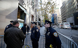 © Licensed to London News Pictures. 10/11/2016. New York CIty, USA. Extra police presence at the entrance to Trump Tower, the home of president-elect Donald Trump.  Protests have taken place outside Trump tower following a shock election victory by the controversial republican candidate earlier this week. Photo credit: Tolga Akmen/LNP