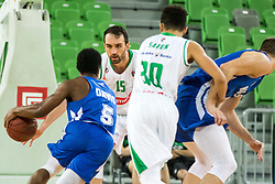 Mirza Begic of Petrol Olimpija vs Rashun Jarrel Davis of KK Rogaska during 2nd leg basketball match between KK Petrol Olimpija and KK Rogaska in quarter final of  Pokal SPAR 2018/19, on January 14, 2019 in Arena Stozice, Ljubljana, Slovenia. Photo by Matic Ritonja / Sportida