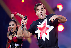 Robbie Williams performs on stage in a Kilt at London Stadium in Stratford, East London on 23 June 2017.<br /> (14 Days Usage and Editorial Usage Only)<br />
