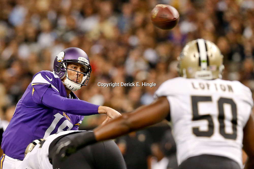 Sep 21, 2014; New Orleans, LA, USA; Minnesota Vikings quarterback Matt Cassel (16) throws against the New Orleans Saints during the first quarter of a game at Mercedes-Benz Superdome. Mandatory Credit: Derick E. Hingle-USA TODAY Sports