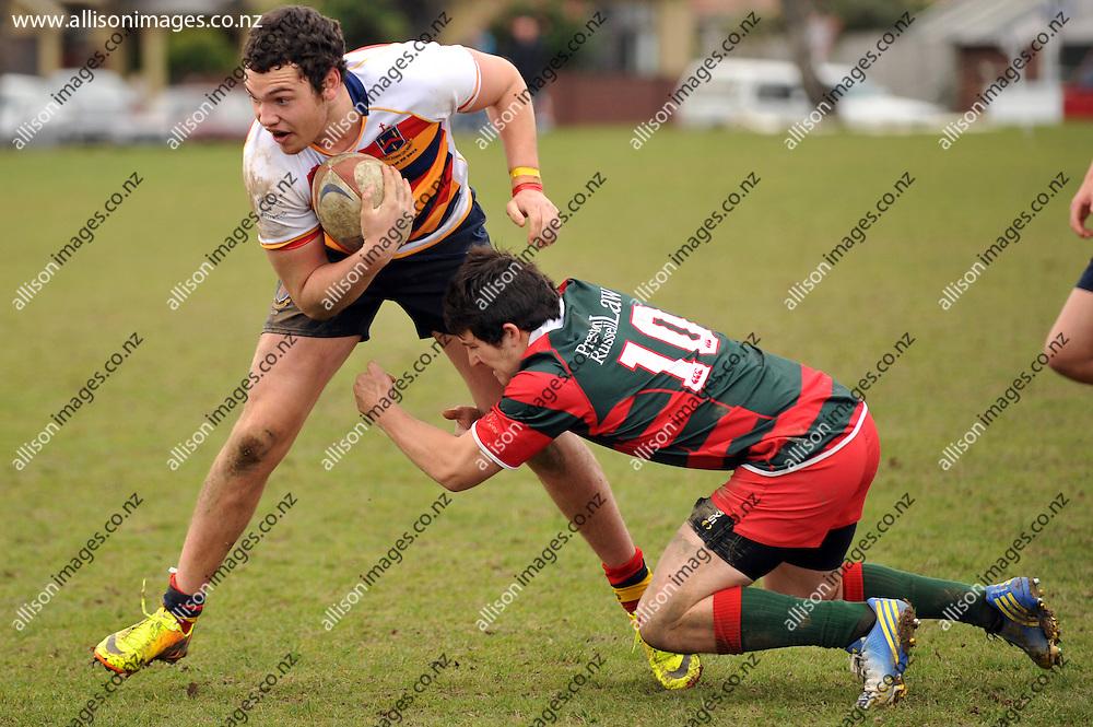 Menzies College 1st XV v John McGlashan College 1st XV rugby match, John McGlashan College, Dunedin, Otago, New Zealand, Saturday, August 24, 2013. Credit:Joe Allison / Allison Images