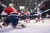 KELOWNA, CANADA -FEBRUARY 19: The Kelowna Rockets celebrate a goal against the Tri City Americans on February 19, 2014 at Prospera Place in Kelowna, British Columbia, Canada.   (Photo by Marissa Baecker/Getty Images)  *** Local Caption ***