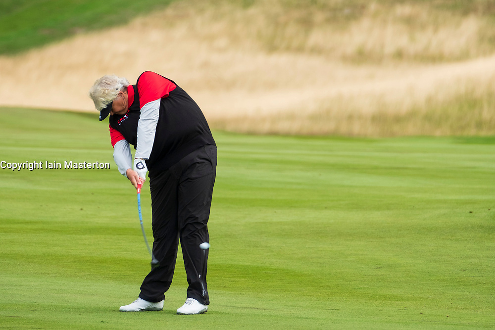 Gleneagles, Scotland, UK; 10 August, 2018.  Day three of European Championships 2018 competition at Gleneagles. Men's and Women's Team Championships Round Robin Group Stage. Four Ball Match Play format.  Pictured; Great Britain;'s Laura Davies plays approach to the 2nd hole in match against Belgium.