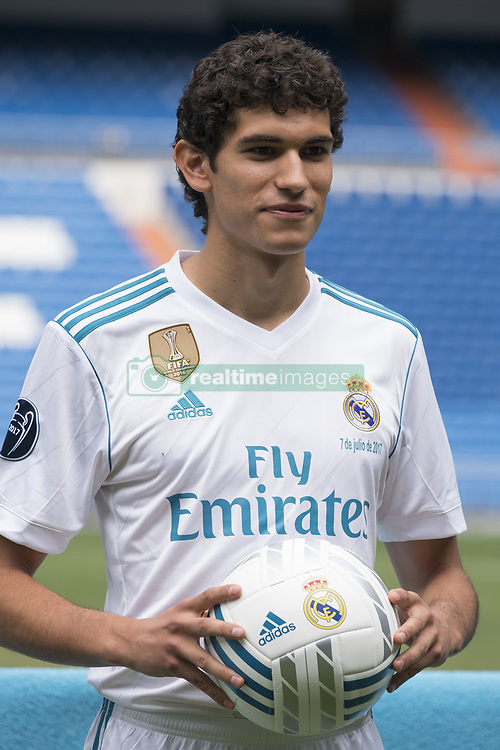 July 7, 2017 - Madrid, Spain - Real Madrid soccer player Jesus Vallejo is presented at Bernabeu stadium on July 7, 2017 in Madrid, Spain. (Credit Image: © Oscar Gonzalez/NurPhoto via ZUMA Press)