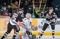 KELOWNA, CANADA - DECEMBER 5: Justin Kirkland #23 and Tomas Soustal #15 of Kelowna Rockets celebrate a goal against Adin Hill #31 of the Portland Winterhawks on December 5, 2015 at Prospera Place in Kelowna, British Columbia, Canada.  (Photo by Marissa Baecker/Shoot the Breeze)  *** Local Caption *** Justin Kirkland; Adin Hill; Tomas Soustal;