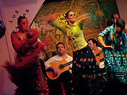 Flamenco dancers at the legendary flamenco club, Los Gallos, in Seville, Spain.