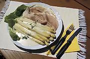 Deutschland Germany,Hessen.Hessen Rheingau-Taunus.Essen, Food: Rheingauspezialitaet: Spargel mit Rieslingsosse und Schinken.food, speciality from Hessen and Rheingau...