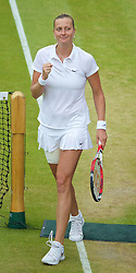 30.06.2014, All England Lawn Tennis Club, London, ENG, WTA Tour, Wimbledon, im Bild Petra Kvitova (CZE) celebrates after winning the Ladies' Singles 4th Round match 6-3, 6-2 on day seven // 15065000 during the Wimbledon Championships at the All England Lawn Tennis Club in London, Great Britain on 2014/06/30. EXPA Pictures © 2014, PhotoCredit: EXPA/ Propagandaphoto/ David Rawcliffe<br /> <br /> *****ATTENTION - OUT of ENG, GBR*****