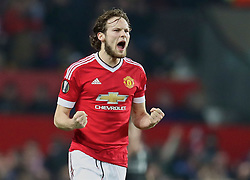 MANCHESTER, ENGLAND - Wednesday, March 16, 2016: Manchester United's Daley Blind celebrates the first goal against Liverpool during the UEFA Europa League Round of 16 2nd Leg match at Old Trafford. (Pic by David Rawcliffe/Propaganda)
