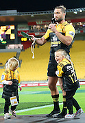 Hurricanes' Cory Jane holds aloft his Mere, awarded for 100 matches for the Hurricanes during the Round 7 Super Rugby match, Hurricanes  v Jaguares at Westpac Stadium, Wellington. 9th April 2016. Copyright Photo.: Grant Down / www.photosport.nz