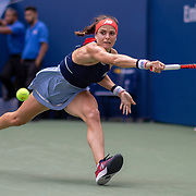 2019 US Open Tennis Tournament- Day Two. Nicole Gibbs of the United States in action against Simona Halep of Romania in the Women's Singles Round One match on Louis Armstrong Stadium at the 2019 US Open Tennis Tournament at the USTA Billie Jean King National Tennis Center on August 27th, 2019 in Flushing, Queens, New York City.  (Photo by Tim Clayton/Corbis via Getty Images)