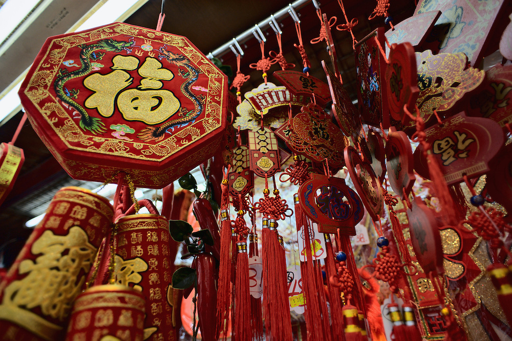 Chinese New Year decorations for sall outside stationery store, Stanley Street, Hong Kong