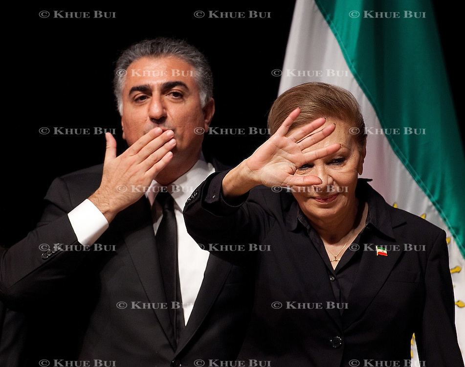 Empress Farah Pahlavi and Crown Prince Reza Pahlavi speak at a memorial service for Prince Alireza Pahlavi January 23, 2011, in Bethesda, MD...Photo by Khue Bui