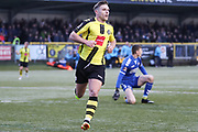 Harrogate Town midfielder Jack Emmett (8) scores his team's first goal during the Vanarama National League match between FC Halifax Town and Dover Athletic at the Shay, Halifax, United Kingdom on 17 November 2018.