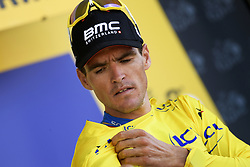 July 15, 2018 - Amiens Metropole, FRANCE - Belgian Greg Van Avermaet of BMC Racing celebrates on the podium in the yellow jersey of leader in the overall ranking after the eighth stage of the 105th edition of the Tour de France cycling race, from Arras Citadelle to Roubaix (156,5 km), in France, Sunday 15 July 2018. This year's Tour de France takes place from July 7th to July 29th. BELGA PHOTO YORICK JANSENS (Credit Image: © Yorick Jansens/Belga via ZUMA Press)