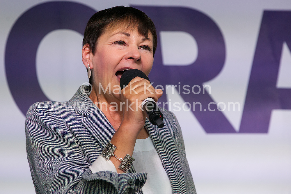 London, UK. 4 September, 2019. Caroline Lucas, Green MP for Brighton Pavilion, addresses Remain supporters at a Defend Our Democracy rally in Parliament Square shortly after MPs passed the Brexit delay bill in the House of Commons.