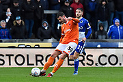 Gary Madine (30) of Blackpool shoots at goal during the EFL Sky Bet League 1 match between Bristol Rovers and Blackpool at the Memorial Stadium, Bristol, England on 15 February 2020.