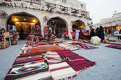 View of shop selling traditional crafts at Souk Waqif in Doha Qatar