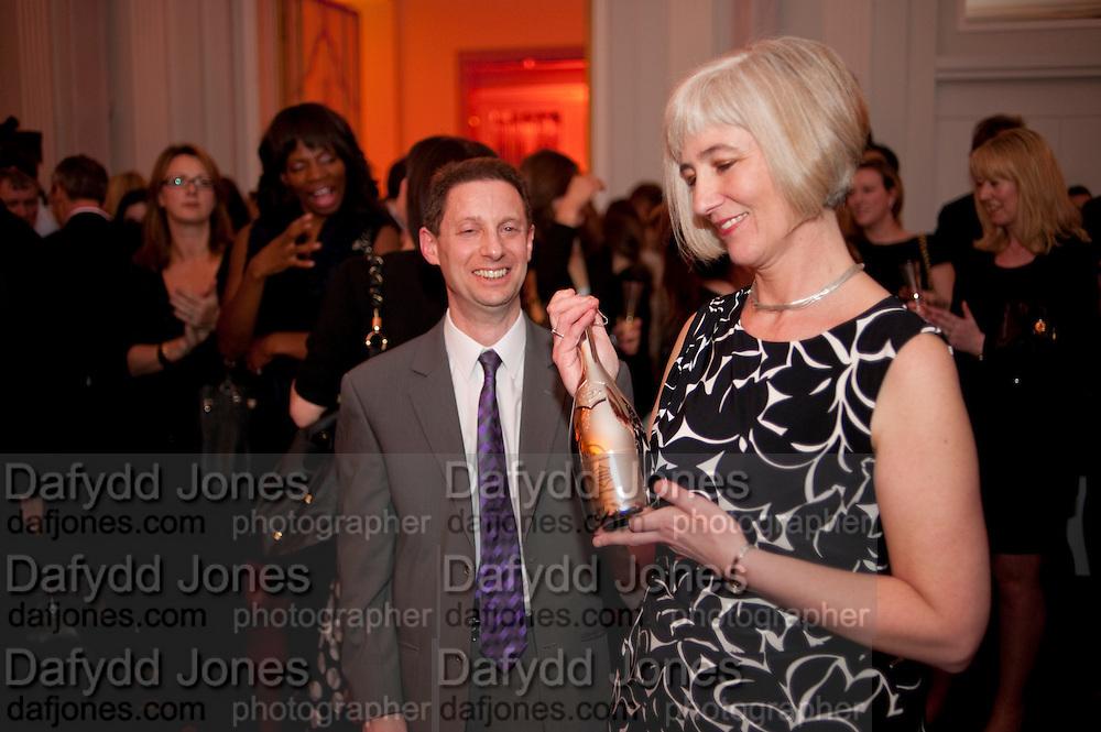 JASON FOX; MICHELLE MCDOWELL WINNER OF THE AWARD, The Veuve Clicquot Businesswoman of the Year  Award. Claridge's, London.  March 28 2011. ,-DO NOT ARCHIVE-© Copyright Photograph by Dafydd Jones. 248 Clapham Rd. London SW9 0PZ. Tel 0207 820 0771. www.dafjones.com.