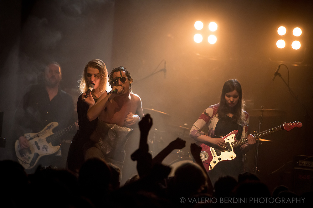 The Moonlandingz live at the Village Underground in London on 4 Apr 2017. Lias Saoudi, frontman of Fat White Family, presented the debut album Interplanetary Class Classics of his other band at a sold out concert.