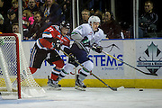 KELOWNA, CANADA - DECEMBER 07:  Calvin Thurkauf #27 of the Kelowna Rockets and Bryan Allbee #6 of the Seattle Thunderbirds at the Kelowna Rockets game on December 07, 2016 at Prospera Place in Kelowna, British Columbia, Canada.  (Photo By Cindy Rogers/Nyasa Photography,  *** Local Caption ***