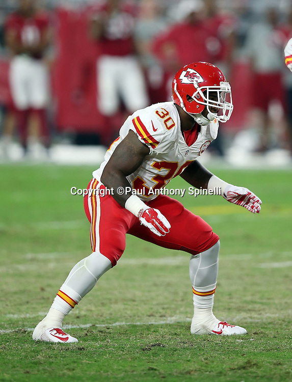 Kansas City Chiefs cornerback Jamell Fleming (30) makes a move during the 2015 NFL preseason football game against the Arizona Cardinals on Saturday, Aug. 15, 2015 in Glendale, Ariz. The Chiefs won the game 34-19. (©Paul Anthony Spinelli)