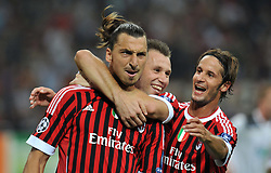 28.09.2011, Stadion Giuseppe Meazza, Mailand, ITA, UEFA CL, Gruppe H, ITA, UEFA CL, AC Mailand (ITA) vs FC Viktoria Pilsen (CZE), im Bild Zlatan IBRAHIMOVIC Milan celebrates scoring on penalty.Esultanza dopo il Gol su calcio di rigore di Zlatan IBRAHIMOVIC con Antonio Cassano e Luca Antonini.. // during the UEFA Champions League game, group H, AC Mailand (ITA) vs FC Viktoria Pilsen (CZE) at Giuseppe Meazza stadium in Mailand, Italy on 2011/09/28. EXPA Pictures © 2011, PhotoCredit: EXPA/ InsideFoto/ Alessandro Sabattini +++++ ATTENTION - FOR AUSTRIA/(AUT), SLOVENIA/(SLO), SERBIA/(SRB), CROATIA/(CRO), SWISS/(SUI) and SWEDEN/(SWE) CLIENT ONLY +++++