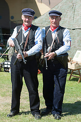 Reenactors of the NWW2A Portraying members of the FFI during a 1940s wartime weekend at Fort Paull on Bank Holiday Monday ..5 May 2013.Image © Paul David Drabble