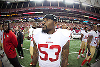 20 January 2013: Linebacker (53) NaVorro Bowman of the San Francisco 49ers stands during the National Anthem before the 49ers 28-24 victory over the Atlanta Falcons in the NFC Championship Game at the Georgia Dome in Atlanta, GA.